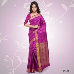 Purple Colored Balatan Silk Woven Work Saree