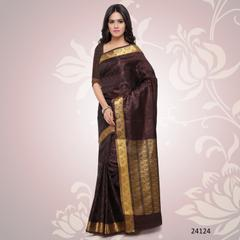 Brown Colored Balatan Silk Woven Work Saree