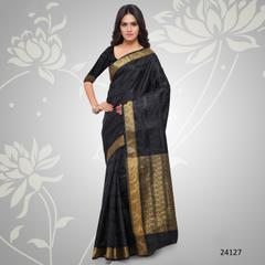 Black Colored Balatan Silk Woven Work Saree