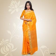 Yellow Colored Balatan Silk Woven Work Saree