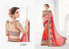 Peach & Pink Colored Pure Silk Embroidered Saree