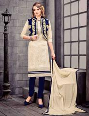 Cream & Navy Blue Colored Glass Cotton & Silk Jacket Embroidered Un-Stitched Dress Material