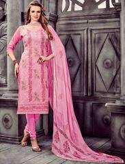 Light Pink Colored Cotton Embroidered Un-Stitched Dress Material