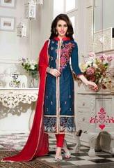 Peacock Blue Colored Cotton Embroidered Un-Stitched Dress Material