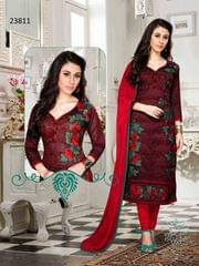 Dark Maroon Colored Cotton Embroidered Un-Stitched Dress Material