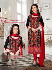 Black Colored Cotton Embroidered Un-Stitched Dress Material