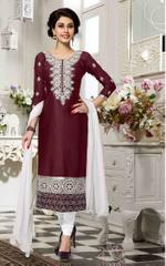 Maroon Colored Cotton Embroidered Un-Stitched Dress Material