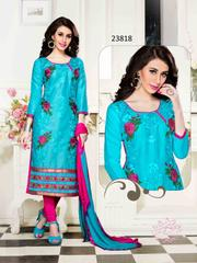 Blue Colored Cotton Embroidered Un-Stitched Dress Material