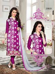 Magenta Colored Cotton Embroidered Un-Stitched Dress Material