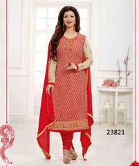 Red Colored Georgette Embroidered Semi Stitched Salwar Suit