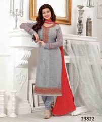 Grey Colored Georgette Embroidered Semi Stitched Salwar Suit