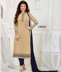 Cream Colored Georgette Embroidered Semi Stitched Salwar Suit
