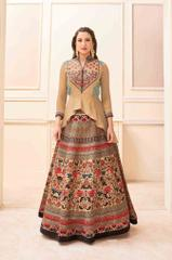 Light Brown Colored Banglori Silk Embroidered With Digital Print Stitched Salwar Suit