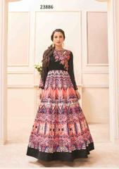 Multi Colored Banglori Silk Embroidered With Digital Print Semi Stitched Salwar Suit