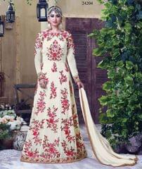 Cream Colored Georgette Embroidery & Stone Work Semi-Stitched Salwar Suit