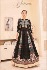 Black Colored Semi-Georgette Embroidered With Digital Print Stitched Salwar Suit