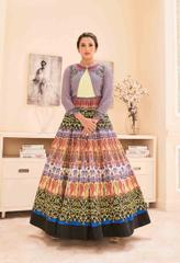 Multi Colored Banglori Satin Embroidered With Digital Print Semi Stitched Salwar Suit