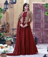 Maroon Colored Georgette Embroidery & Stone Work Semi-Stitched Salwar Suit