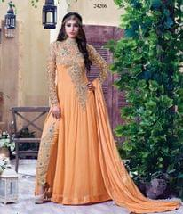 Light Orange Colored Georgette Embroidery & Stone Work Semi-Stitched Salwar Suit