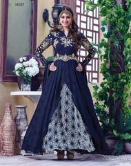 Navy Blue Colored Georgette Embroidery & Stone Work Semi-Stitched Salwar Suit