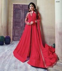 Dark Pink Colored Georgette Embroidery & Stone Work Semi-Stitched Salwar Suit