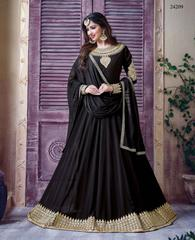 Black Colored Georgette Embroidery & Stone Work Semi-Stitched Salwar Suit
