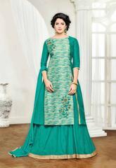 Cream & Green Banglori Silk Embroidered Semi-Stitched Salwar Suit