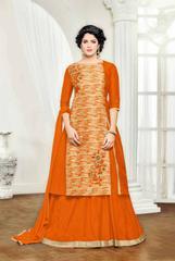 Cream & Orange Banglori Silk Embroidered Semi-Stitched Salwar Suit