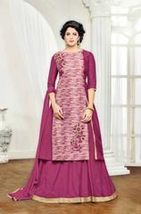Cream & Magenta Banglori Silk Embroidered Semi-Stitched Salwar Suit