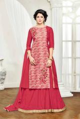 Cream & Red Banglori Silk Embroidered Semi-Stitched Salwar Suit