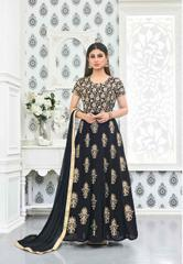 Black Colored Faux Georgette Embroidered Semi Stitched Salwar Suit