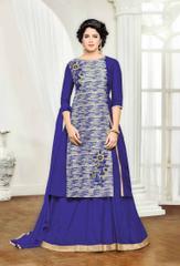 Cream & Blue Banglori Silk Embroidered Semi-Stitched Salwar Suit