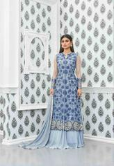 Sky Blue Colored Heavy Net & Faux Georgette Embroidered Semi Stitched Salwar Suit