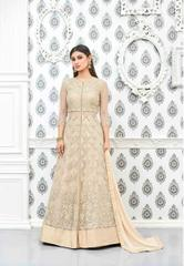 Cream Colored Heavy Net Embroidered Semi Stitched Salwar Suit