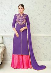 Purple Colored Glass Cotton Embroidered Semi Stitched Salwar Suit