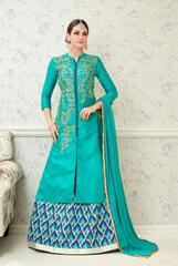 Turquoise Colored Glass Cotton Embroidered Semi Stitched Salwar Suit