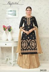 Black Colored Glass Cotton Embroidered Semi Stitched Salwar Suit