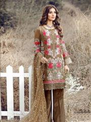 Brown Colored Georgette Embroidery Semi-Stitched Salwar Suit