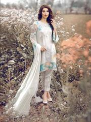 White Colored Georgette Embroidery Semi-Stitched Salwar Suit