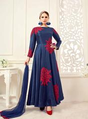 Navy Blue Colored Banglori Silk Embroidered Stitched Salwar Suit