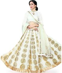 White Colored 60 gm Georgette Embroidered Semi Stitched Lehenga Choli