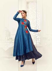 Blue Colored Banglori Silk Embroidered Stitched Salwar Suit