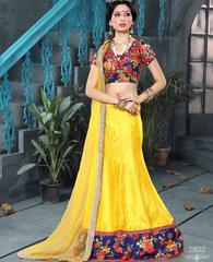 Yellow Colored Pure Banglori Silk Embroidered Semi Stitched Lehenga Choli