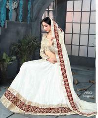 White Colored Pure Satin Banglori Silk Embroidered Semi Stitched Lehenga Choli