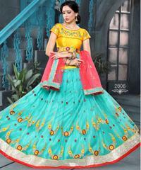 Sky Blue Colored Pure Net Embroidered Semi Stitched Lehenga Choli