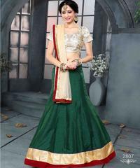 Green Colored Pure Banglori Silk Embroidered Semi Stitched Lehenga Choli