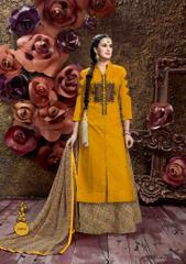 Mustard Colored Glass Cotton Embroidered Semi-Stitched Salwar Suit