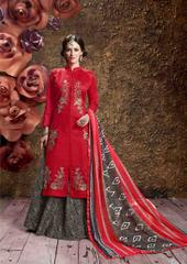 Red Colored Glass Cotton Embroidered Semi-Stitched Salwar Suit