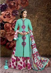 Sky Blue Colored Glass Cotton Embroidered Semi-Stitched Salwar Suit