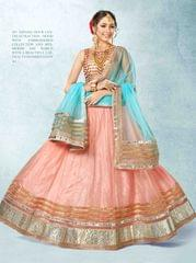 Peach Colored Pure Net Heavy Embroidered Semi Stitched Lehenga Choli